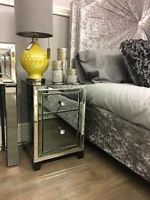 Arctic Noir Smoked Glass Mirror 2 Drawer Bedside Bedroom Chest Cabinet Table