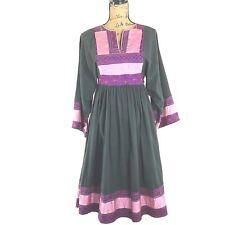 Afghan Dress Traditional Ethnic Embroider Gray Patchwork Kimono Sl Midi Boho Med