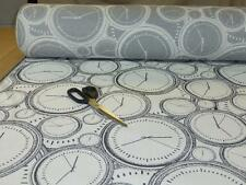 Job Lot - 10m lengths of Charcoal & White - Clock Design Weave Upholstery Fabric