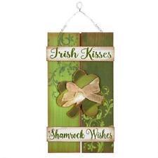 NEW IRISH KISSES SHAMROCK WISHES WALL SIGN  Wooden Pallet BARN BOARD Look