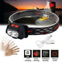Mini Red & White LED Headlamp Motion Sensor Head Torch Light USB Rechargeable
