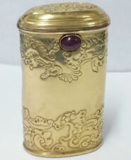 STUNNING FRENCH ART NOUVEAU 14K GOLD CIGARETTE CASE W CABOCHON RUBY 2.25 T OZ