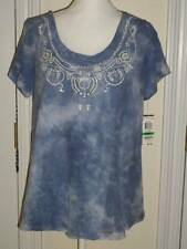 INTERNATIONAL CONCEPTS BLING BLUE WHITE SHEER LINED SHIRT TOP L NWT $70