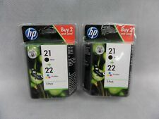 2 x HP 21 Black & 22 Tri-Colour Ink Cartridges 2 Pack SD367AE New & Sealed