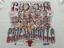 VTG 90s 1991 NBA Chicago Bulls Champions Champs Caricature Tee T Shirt Large L