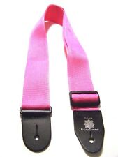 "2"" Pink Woven Guitar / Bass Strap Full Grain Leather Ends USA"