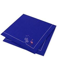 Tommy Hilfiger Men's Flamingo Pride Silk Pocket Square, Blue - NEW