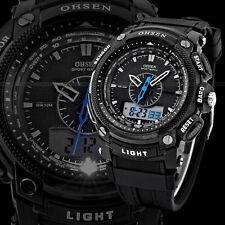 OHSEN Black Waterproof Digital LCD Date Mens Military Sport Rubber Quartz Watch#