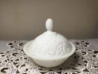 "Vintage  Milk Glass Pedestal Compote Candy Dish w/ Lid 5"" x 5"""