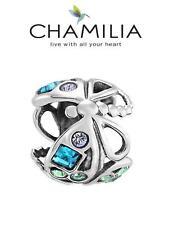 Genuine CHAMILIA 925 silver & Swarovski BLUE DRAGONFLY charm bead