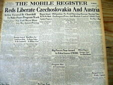 1945 WW II hdl newspaper CZECHOSLOVAKIA & AUSTRIA LIBERATED from Nazi occupation
