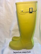 Para mujeres Hunter Wellington Botas De Lluvia Verde Lima De Alto Botas De Agua Size Uk 3