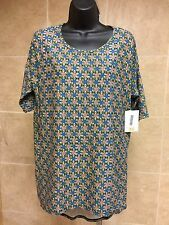 BNWT tee LuLaRoe Irma Top Leggings Buttery soft Material tee floral blue Size XS