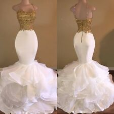 White Organza Mermaid Evening Dress Gold Top Prom Celebrity Party Gown Prom Gown
