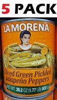 La Morena - Sliced Green Pickled Jalapeno Peppers  - 28.2 Oz Each ( 5 Pack )