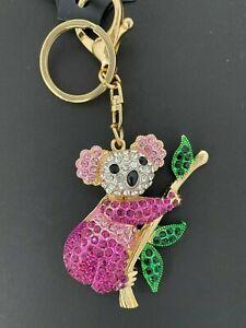 Gorgeous Koala diamante Keyring Rhinestone handbag Charm Bling NEW gift PINK