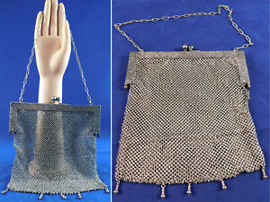 Edwardian Antique German Silver Mesh Chainmail Engraved Frame Tassel Trim Purse