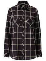 Anthology ladies blouse shirt top plus size 18 20 22 24 26 28 30 32 black check