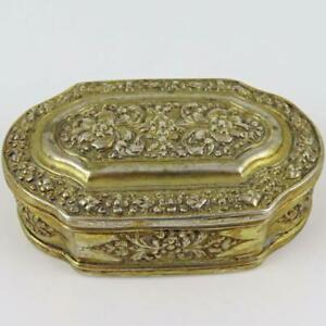 ANTIQUE LATE 19TH CENTURY FLORAL ENGRAVED VERMEIL CONTINENTAL SILVER SNUFF BOX