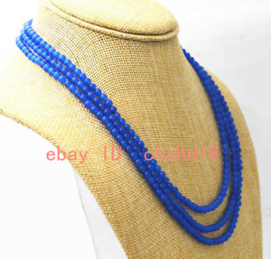 New 4mm Blue Sapphire Round Faceted Gemstone 3 Row Necklace 17-19 inches