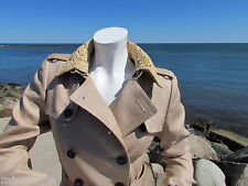 NEW BURBERRY PRORSUM raffia trench 6/8/40 ITALY removable collar linen $2995 wow