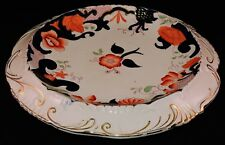 ANTIQUE GAUDY WELCH / DUTCH CONCAVE CAKE PLATE
