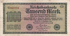 1000 Mark Reichsbanknote 15. September 1922 Deutsches Reich
