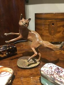 A Leaping Hot Cast Solid Bronze Charlie Fox Sculpture  Rich Warm Patina English