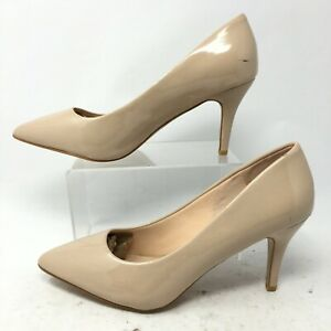 Forever Womens 10 Stiletto Heels Dress Pumps Nude Patent Leather Pointed Toe