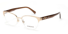 Versace VE 1255B 1339 Brown Gold Studs Crystals Frames Eyeglasses New Authentic