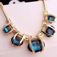 Women Fashion Crystal Pendant Chain Choker Chunky Statement Bib Blue Necklace
