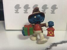 Smurfs 20201 Christmas Smurf Lantern Present Vintage Figure PVC Toy Figurine 80s