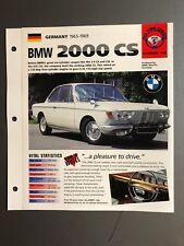 "1965 - 1969 BMW 2002 CS Coupe IMP ""Hot Cars"" Spec Sheet Folder Brochure Awesome"