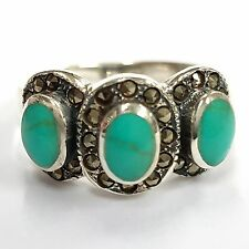 TURQUOISE MARCASITE ART DECO STYLE RING 925 STERLING SILVER SIZE- 8