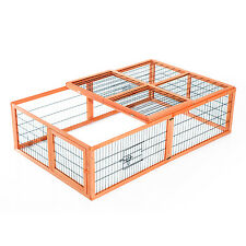 Pawhut Wooden Rabbit Hutch Bunny Rabbit Run Chicken Coop Outdoor Poultry Cage