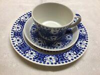 Arabia Ali Blue Made In Finland 3 Piece Vintage Set Cup Sauser & Dessert Plate
