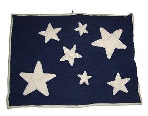 Pottery Barn Kids Blue White STARS Quilted Standard Pillow Sham Farmhouse