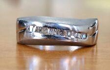 Men's 18k White Gold Natural Baguette Diamond Ring Matte Finished 7 MM Size 10
