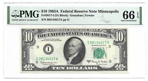 1963A $10 MINNEAPOLIS FRN, PMG GEM UNCIRCULATED 66 EPQ BANKNOTE