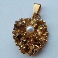 Gold Plate Sterling Silver Flora Danica  Denmark Gemma  With Pearl  Pendant