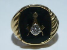 VINTAGE MASONIC FRATERNAL ONYX 14K GOLD & 1/4 CARAT 4mm DIAMOND MENS RING BAND
