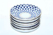 RUSSIAN Imperial Lomonosov Porcelain Set 6 Jam Dishes Bowl Cobalt Net Dessert