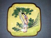 "Enamel on Brass Handpainted Chinese Trinket Plate, 3 1/2"", Vintage/Antique"