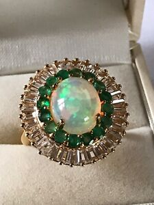 huge Ethiopian Welo Opal Emerald & Topaz  Ring in gold on Silver size N 6.750ct
