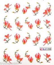 Nail Art Water Decals Decoration Peach Gold Oriental Japanese Flowers Gel Polish
