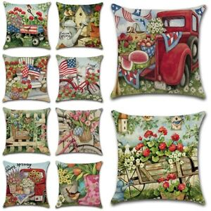 "18"" Flower Countryside Spring Throw Pillow Cover Linen Decorative Cushion Case"