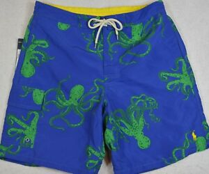 Polo Ralph Lauren Mens Swim Trunks Briefs Shorts Blue Octopus S NWT