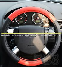 UNIVERSAL NISSAN FAUX LEATHER LOOK RED STEERING WHEEL COVER