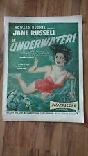 Vintage Original Print Magazine Movie Ad 1950s Jane Russell in Underwater
