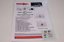 DECALS 1/43 ALPINE RENAULT A110 ANDRUET RALLYE MONTE CARLO 1968 RALLY WRC